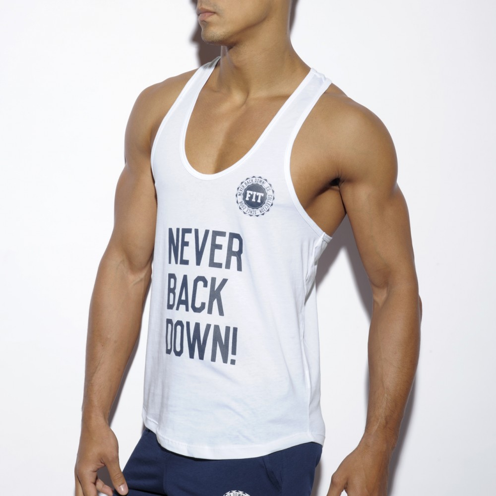TS169 Never Back Down Tank Top - WHITE